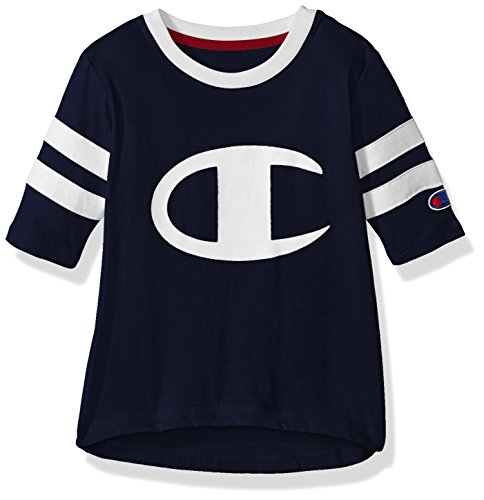 (Champion Little Girls' Heritage Rugby Style Long Sleeve Tee, Navy, 4)