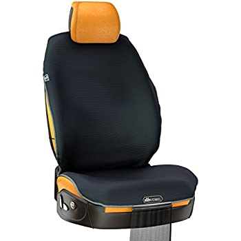 Universal Car Seat Cover, Quick-Dry Microfiber Seat Protector with Storage Bag, Absorbent and Non-Slip, Machine Washable, Fit-Towel by TiiL (Black)