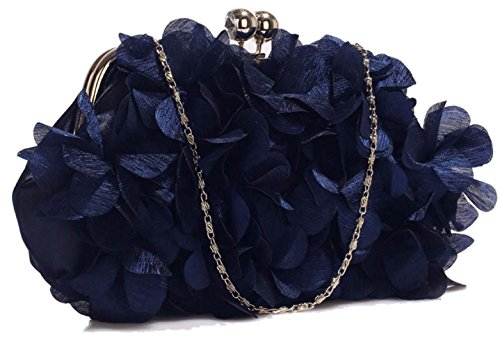 Bag Flower Navy Gorgeous Kiss Evening Satin Save Delivery 50 Free Uk Handbag Lock Clutch 148xX4