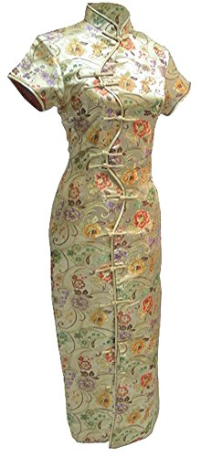 7Fairy Women's Sexy Gold Ten Buttons Long Chinese Dress Cheongsam Size 6 US by 7Fairy