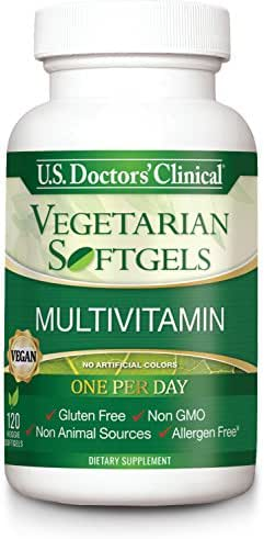 U.S. Doctors' Clinical Vegan Softgel Multivitamin w/ 20 Essential Nutrients for Cardiovascular Support, Immune Support, Energy Promotion, Digestive Health, Metabolic Rate [4 Month Supply - 120 Count]