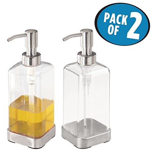 mDesign Liquid Soap Dispenser Pump for Bathroom or Kitchen - Pack of 2, Clear (Soap Clear Dish Classic)