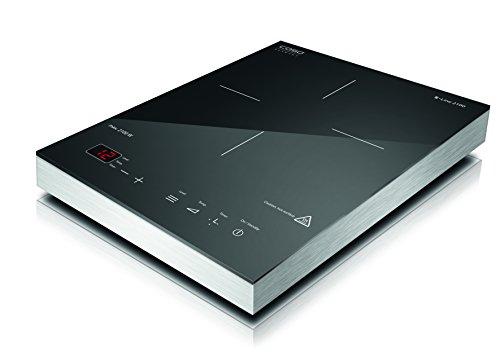Caso S-Line 2100 - Einzel- Induktionskochfeld -  2100 Watt, Induktions-Kochplatte mit Glaskeramik- Ganzglasoberfläche, Kochfeld mit 12 Leistungsstufen, Timer und Sensor- Touch Display