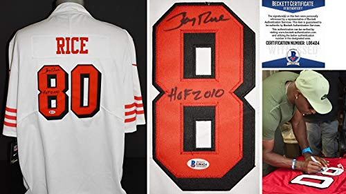 (Jerry Rice Signed Jersey - NIKE Throwback Witnessed Beckett Certificate of Authenticity BAS COA) - Beckett Authentication)