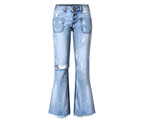 Blue Straight Leg Button (Women's Distressed Ripped Loose Bootcut Straight Leg Jeans Light Blue XL)