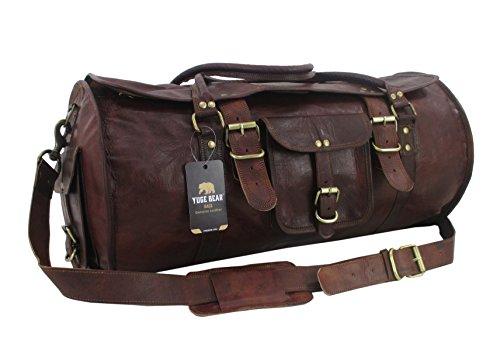 Yuge Bear 24'' FR1 Vintage Genuine Leather Flap Duffel Weekender Bag by Yuge Bear