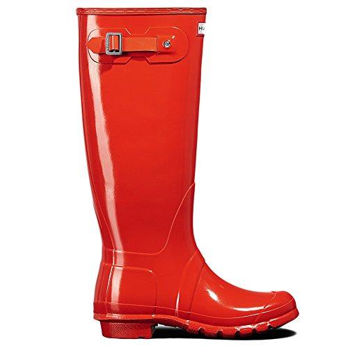Hunter Women's Original Tall Gloss Rain Boots Orange 7 M US