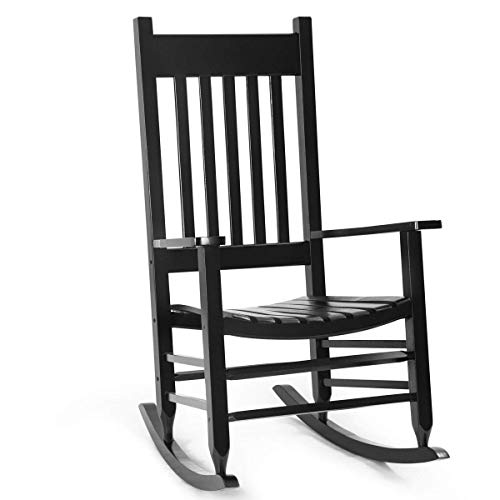 Outdoor Indoor Porch Wood Rocker 100% Natural Solid Wooden Deck Patio Backyard Living Room Rocking Chairs (Black) ()