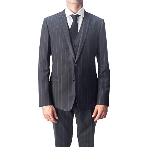 Dolce & Gabbana Men's Virgin Wool 3-Piece Pinstripe Suit Black Dolce And Gabbana Mens Suits