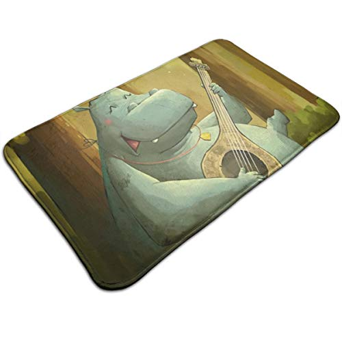 Happy Hippo Plays The Piano Carpet Cover Floor Rug Indoor/Outdoor Area Rugs Garden Office Door Mat Kitchen Dining Bathroom Pet Entry with Non Slip Backing Carpets Floor Mat ()