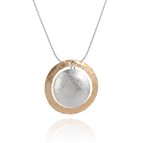 Two Tone Hand Hammered Circle and Disc Necklace 925 Silver & 14k Gold Filled Pendant, 18