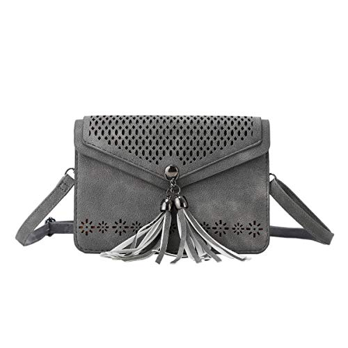 Women Small Crossbody Bag - Cell Phone Purse Smartphone Wallet Bags (225- grey with tassel) ()