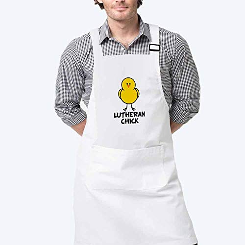 (Adjustable Bib Apron - Lutheran Chick Fashion Apron with Two Pockets for Kitchen Cooking Restaurant Dishwashing BBQ )