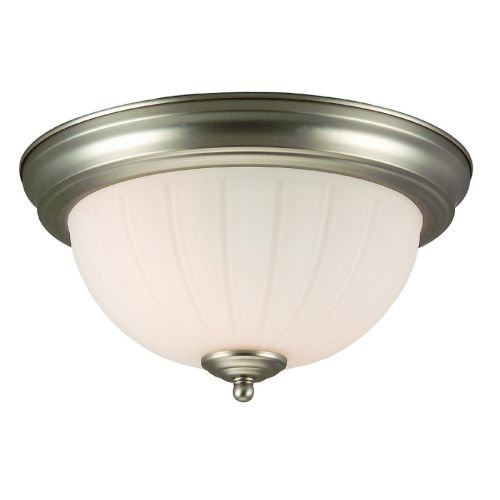 Craftmade Step (Craftmade X111-BN Bowl Flush Mount Light with Frosted Melon Glass Shades, Brushed Nickel Finish)