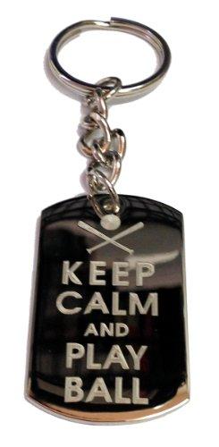 (Keep Calm and Play Ball Baseball Bat & Ball - Metal Ring Key Chain Keychain)