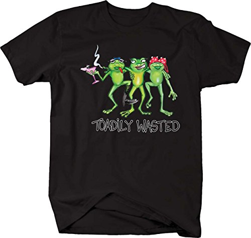 Toadily Wasted 3 Drunk Frogs Smoking Drinking T shirt - 2XL