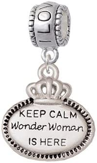 I Love You More Charm Bead Delight Jewelry Silvertone Keep Calm Wonder Woman is Here