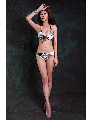 Women's Floral Print Three Pieces Push Up Bikini , green-m , green-m