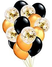 مجموعة بالونات من 15 قطعة، بالونة بقصاصات ورق لامعة ذهبية- بالونة عيد ميلاد- للاحتفال بالسبوع- لوازم زينة حفلات الاطفال- حفلات التخرج