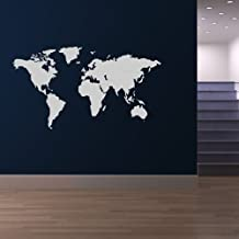 World Map Wall Sticker Atlas Wall Decal Art available in 5 Sizes and 25 Colours Medium Ocean Blue