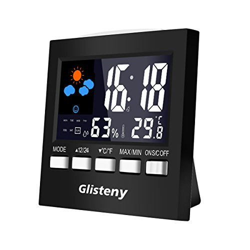 Thermometer Monitor, GLISTENY Humidity Monitor LCD Screen Electronic Digital Display Indoor Temperature Gauge Humidity Meter with Alarm Clock, Calendar, Voice Control Backlight