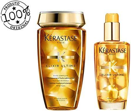 Banner Kit para cuidados com cabelo Kérastase Elixir Ultime Shampoo 250ml + óleo de Argan 100ml