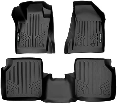 MAXLINER Floor Mats 2 Row Liner Set Black for 2017-2021 Jeep Compass with 1st Row Dual Driver Side Floor Hooks (New Body Style Only)