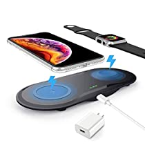 Dual Fast Wireless Charger, ZealSound 10W/7.5W/5W 3 Mode Dual Two Fast Charging Pad Wireless Charger with USB 3.0 Adapter for All Qi Enabled Watch and Phones (Black)