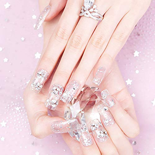 Drecode False Nails Bling Sequins Rhinestone Bead Full Cover Fake Nail Glitter Wedding Birthday Party Clip on Nails for Women and Girls