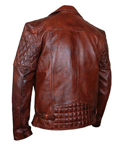 Motorcycle amp;h Fashion Jacket Leather Genuine Sheepskin Men's Brown F Waxed fxSZxq1w