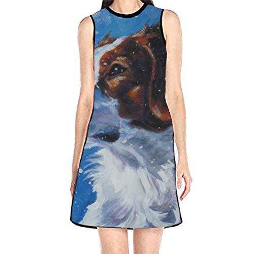 (Women's Sleeveless Sundress Brittany Spaniel Dog Print T-Shirt Dress A-Line Tunic Shirt)