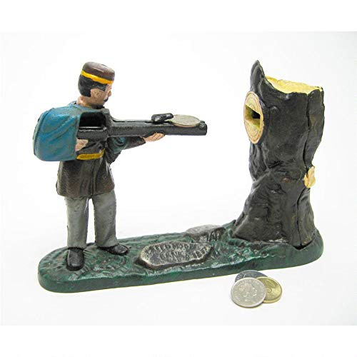 Design Toscano Creedmoor Rifle Range Hunter Collectors' Die Cast Iron Mechanical Coin Bank by Design Toscano