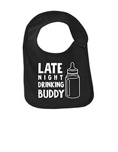 Late Night Drinking Buddy Funny Infant Jersey Bib Black One Size