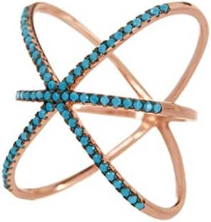 14K Rose Gold Sterling Silver and Turquoise Criss Cross X Ring