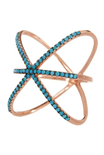 14K Rose Gold Plated Sterling Silver and Simulated Turquoise Criss Cross X Ring Size : 9 (Ring Turquoise Cross)