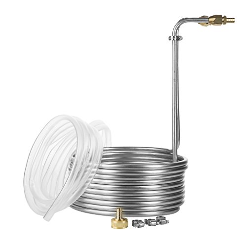 JockeyBox.com WC-25SS38 25 Foot Stainless Steel Immersion Wort Chiller with No-leak Fittings and Accessories 3/8-inch ft Cool, Silver