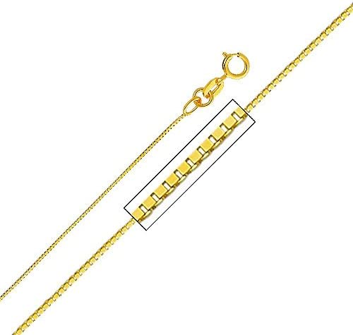 The World Jewelry Center 14k Yellow Gold Cornicello Italian Horn Pendant with 0.65mm Box Link Chain Necklace