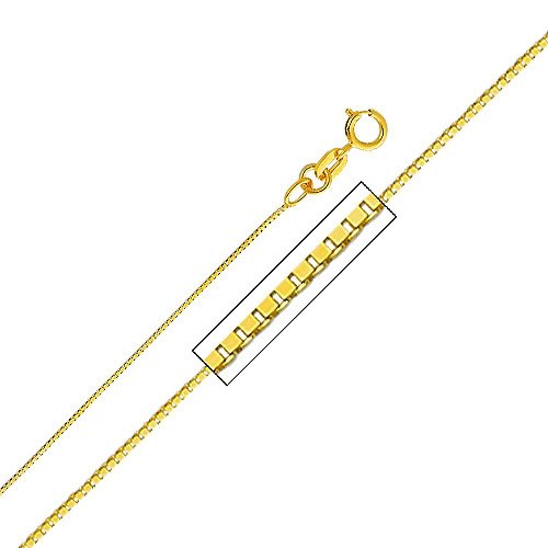 14k Yellow Gold Religious Jesus Pendant with 0.65mm Box Link Chain Necklace