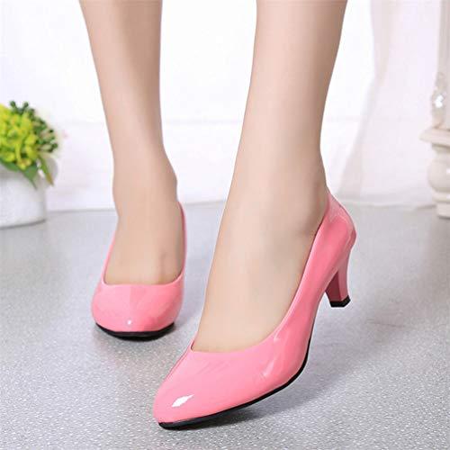 en Dames Profonde Bouche de Mode Les Artificielle Bas de élégant Nue Travail Chaussures Cuir Rose Talons Peu Femmes Talons Chaussures fxxnqZC7