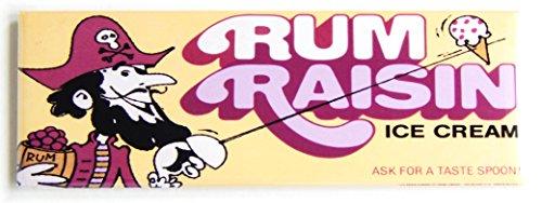 Rum Raisin Ice Cream Sign Fridge Magnet (1.5 x 4.5 inches)