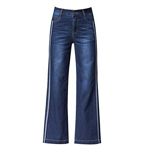 Blue Pantalon pour Droite ADEMI Vintage Pantalon Pantalon Loose Femme Jean Jambe Large qapPawg4