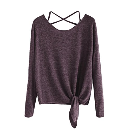 Clearance Sale,Gillberry Women's Cute Criss Cross Back Long Sleeve Tops Loose Hollow Out Camisole Shirt With Crow (Wine, S)