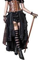 Steampunk Retro Victorian Punk Cincher Lace up Long Ruffle Pencil Skirt