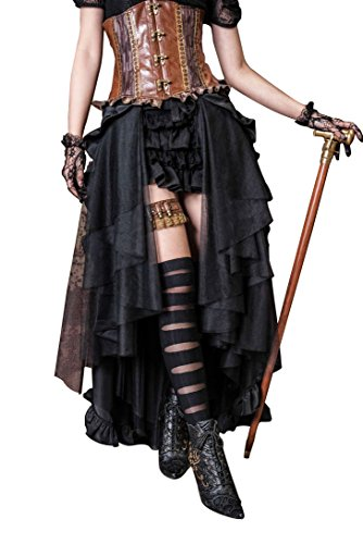 HaoLin Steampunk Retro Victorian Punk Cincher Lace up Long Ruffle Pencil Skirt