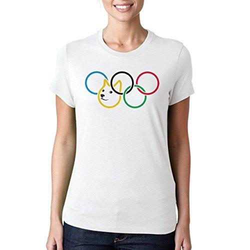 Olympic Olympischen Rings Doge Dog Meme Damen T-Shirt