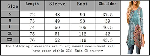 Femmes Col 4 Casual Manches Automne Imprime et T Chemisiers Hauts Irregulier 3 Blouses Tee Bleu Rond Long Printemps Clair Shirts Tops Tunique Shirt zYfq4ExE