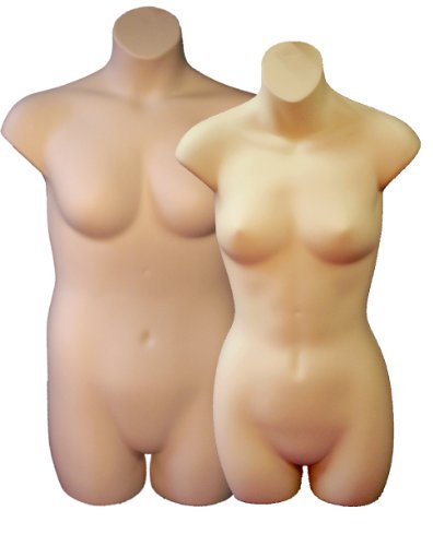 Female 3/4 & Plus Size Display Forms, Fleshtone by Plastic Mannequins
