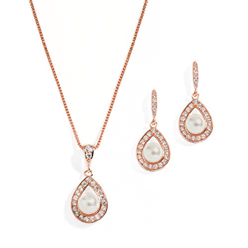 Mariell Rose Gold Wedding Necklace and Earrings Pearl Jewelry Set with CZ Frame for Bridesmaids & Brides