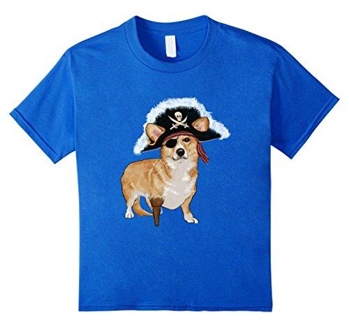 Kids Funny Corgi Pirate Halloween Dog Lovers Costume T Shirts 8 Royal Blue