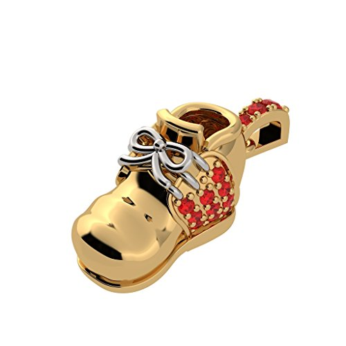 NANA 14 karat Yellow Gold Birthstones Baby Shoe made with Swarovski Zirconia Charm-Pendant-necklace -January